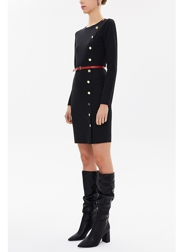 Societa Önden Düğmeli Dar Kesimi Elbise 92142 Siyah